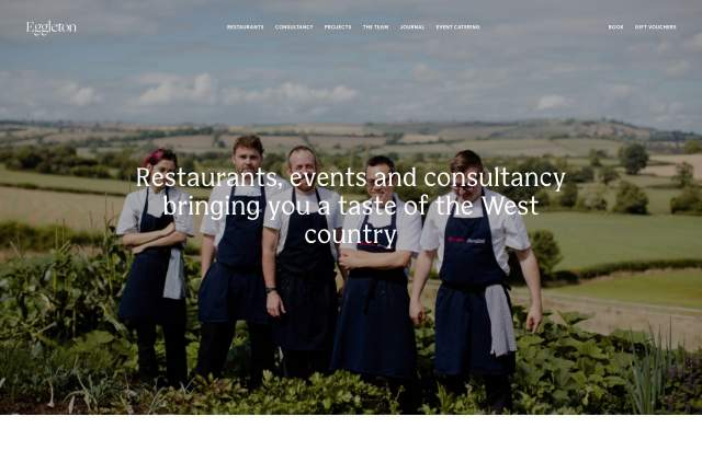 Screenshot of the homepage of the minimal website Eggleton, published on The Gallery on the 2019-09-12 and tagged with the tags food, irregular layout, sans serif, typographic