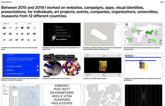 Screenshot of the homepage of the minimal website Gianluca Monaco, published on The Gallery on the 2019-12-13 and tagged with the tags personal, portfolio, grid, sans serif, web development