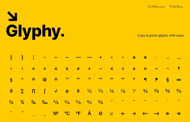 Screenshot of the homepage of the minimal website Glyphy, published on The Gallery on the 2019-11-15 and tagged with the tags tool, yellow, symbols, onepage, resource