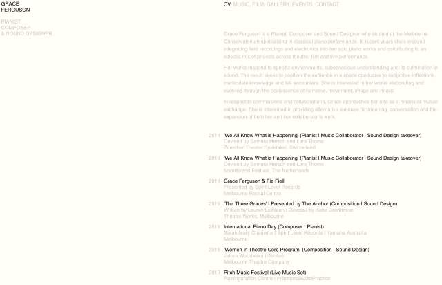 Screenshot of the homepage of the minimal website Grace Ferguson, published on The Gallery on the 2019-09-03 and tagged with the tags personal, two columns, sans serif, light