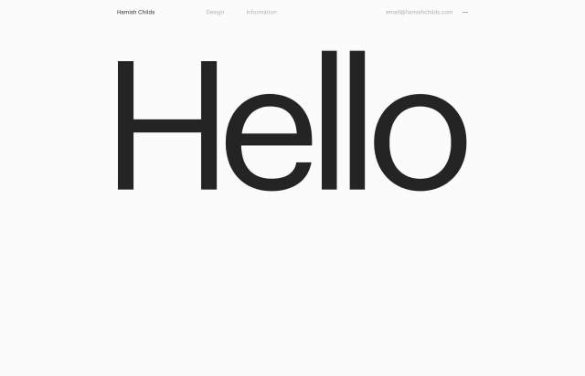 Screenshot of the homepage of the minimal website Hamish Childs, published on The Gallery on the 2019-05-31 and tagged with the tags sans serif,portfolio,studio,big typography,single font