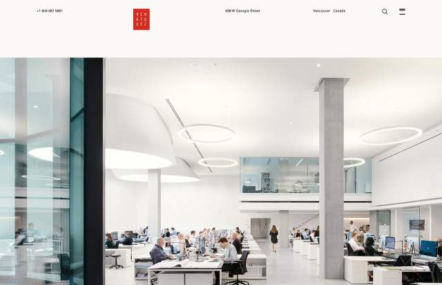 Screenshot of the homepage of the minimal website Henriquez Partners Architects, published on The Gallery on the 2019-06-30 and tagged with the tags studio, architecture, sans serif, center aligned, corporate, univers