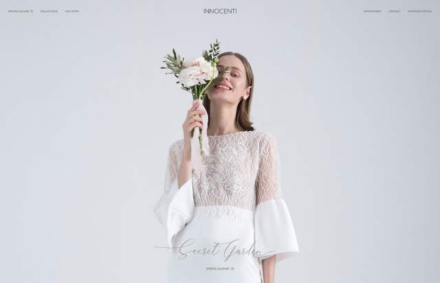 Screenshot of the homepage of the minimal website Innocenti, published on The Gallery on the 2019-05-21 and tagged with the tags fashion,commerce,small typography