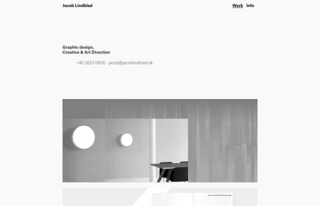Screenshot of the homepage of the minimal website Jacob Lindblad, published on The Gallery on the 2019-05-31 and tagged with the tags personal,center aligned,portfolio,sans serif,single column