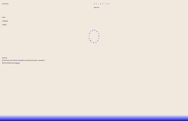 Screenshot of the homepage of the minimal website Jon Francis, published on The Gallery on the 2019-05-31 and tagged with the tags personal,portfolio,sans serif,rubik,gradient