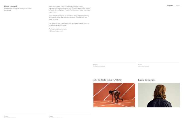 Screenshot of the homepage of the minimal website Kasper Laigaard Studio, published on The Gallery on the 2019-07-05 and tagged with the tags sans serif, small typography, multicolumn, open sans, portfolio