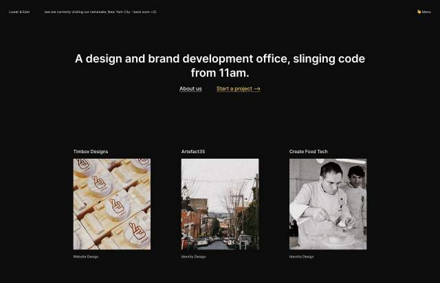Screenshot of the homepage of the minimal website Lower & East, published on The Gallery on the 2019-09-15 and tagged with the tags dark, grid, portfolio, design, sans serif