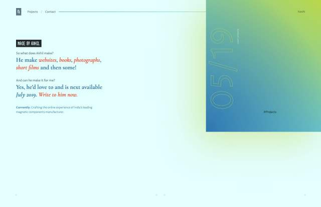 Screenshot of the homepage of the minimal website Made by Akhil, published on The Gallery on the 2019-07-08 and tagged with the tags gradient, personal, portfolio, serif, colourful