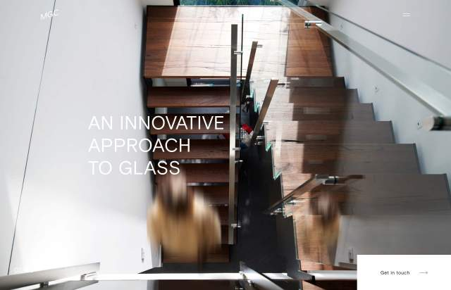 Screenshot of the homepage of the minimal website Melbourne Glass Co., published on The Gallery on the 2019-06-30 and tagged with the tags interior design, company, basis grotesque, big images