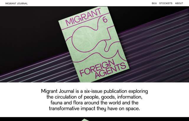 Screenshot of the homepage of the minimal website Migrant Journal, published on The Gallery on the 2019-07-08 and tagged with the tags sans serif, journal, magazine, shop