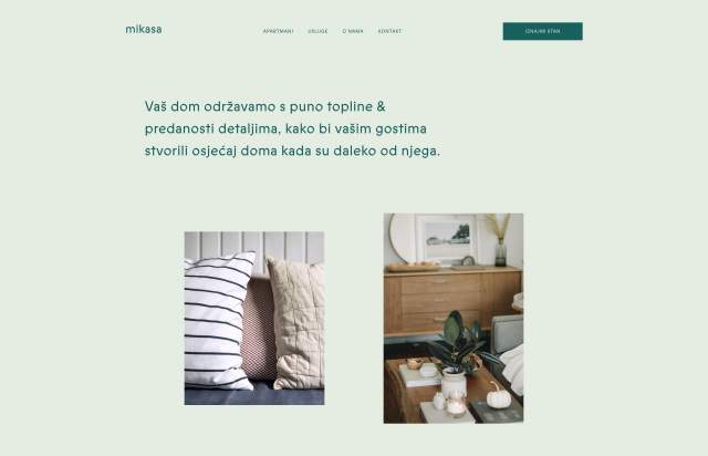 Screenshot of the homepage of the minimal website Mikasa, published on The Gallery on the 2019-06-30 and tagged with the tags portfolio, studio, prophet, green
