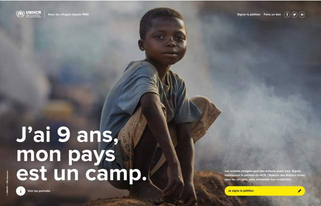 Screenshot of the homepage of the minimal website Mon pays est un camp, published on The Gallery on the 2019-06-30 and tagged with the tags unicef, charity, big images, sans serif, grid, petition