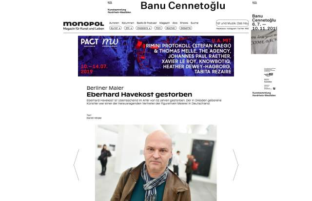 Screenshot of the homepage of the minimal website Monopol, published on The Gallery on the 2019-07-08 and tagged with the tags magazine, newspaper, sans serif, center aligned, ginto, black and white, brutal