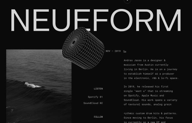 Screenshot of the homepage of the minimal website Neueform, published on The Gallery on the 2019-11-15 and tagged with the tags personal, dark, wireframe, sans serif