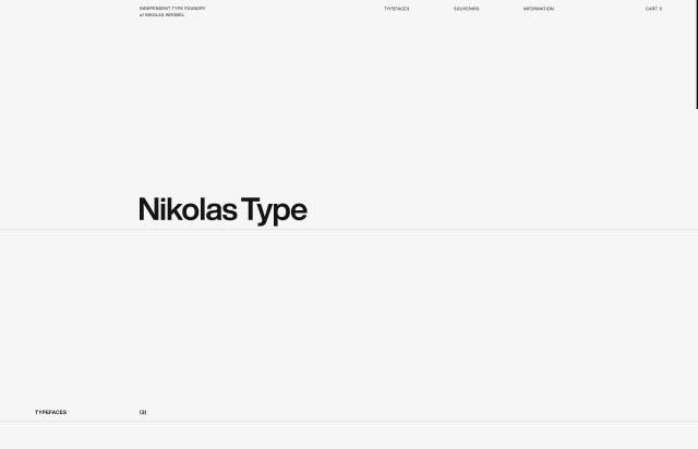 Screenshot of the homepage of the minimal website Nikolas Type, published on The Gallery on the 2019-11-15 and tagged with the tags type foundry, custom cursor, unusual scroll, light