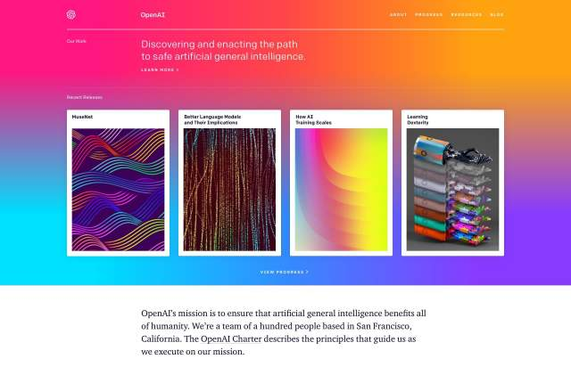 Screenshot of the homepage of the minimal website OpenAI, published on The Gallery on the 2019-07-04 and tagged with the tags colourful, gradient, blog, ia, charter, colfax