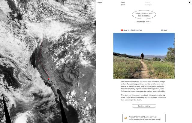 Screenshot of the homepage of the minimal website Pacific Crest Trail, published on The Gallery on the 2019-07-05 and tagged with the tags long, blog, two columns, walk, sans serif