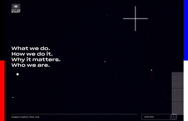 Screenshot of the homepage of the minimal website PICTURESTART, published on The Gallery on the 2019-05-21 and tagged with the tags portfolio,video,animations,unusual layout,unusual scroll,sans serif,typographic