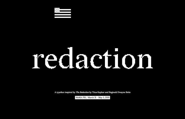 Screenshot of the homepage of the minimal website Redaction, published on The Gallery on the 2019-09-17 and tagged with the tags typeface, black and white, interactive, serif, resource