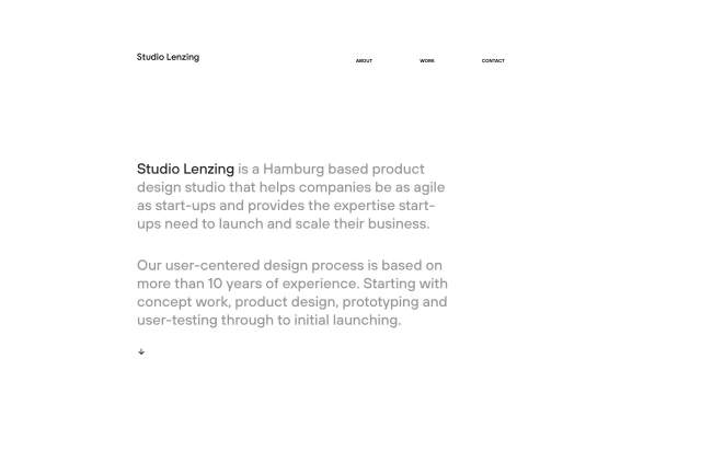 Screenshot of the homepage of the minimal website Studio Lenzing, published on The Gallery on the 2019-09-06 and tagged with the tags portfolio, studio, center aligned, sans serif, hoves, light