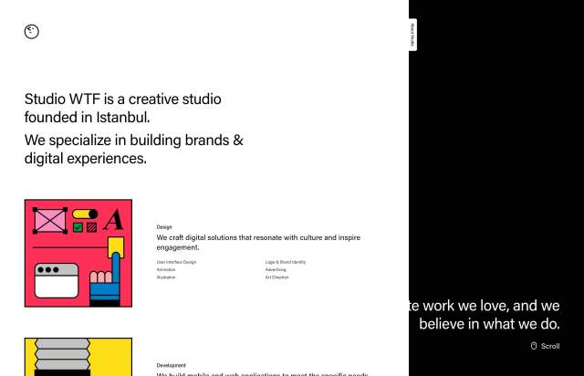 Screenshot of the homepage of the minimal website Studio WTF, published on The Gallery on the 2019-05-31 and tagged with the tags black and white,two columns,unusual layout,sans serif
