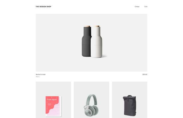 Screenshot of the homepage of the minimal website The Design Shop, published on The Gallery on the 2019-06-30 and tagged with the tags shop, commerce, grid, sans serif, minimal