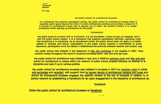 Screenshot of the homepage of the minimal website The public school for architecture brussels, published on The Gallery on the 2019-12-13 and tagged with the tags yellow, sans serif, center aligned, single column, star wars, perspective, unusual scroll