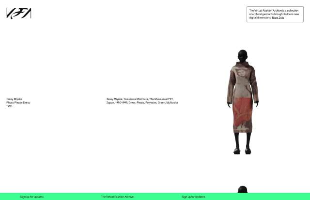 Screenshot of the homepage of the minimal website The Virtual Fashion Archive, published on The Gallery on the 2019-12-13 and tagged with the tags fashion, 3d, brutal, webgl