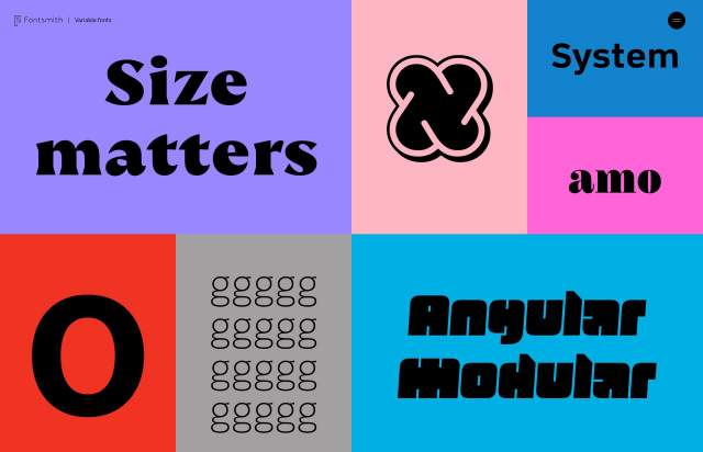 Screenshot of the homepage of the minimal website Variable Fonts, published on The Gallery on the 2019-11-06 and tagged with the tags typography, resources, typeface, colourful, interactive