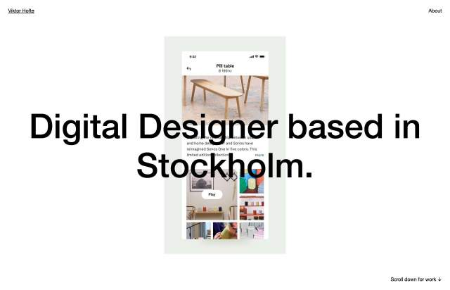 Screenshot of the homepage of the minimal website Viktor Hofte, published on The Gallery on the 2019-11-06 and tagged with the tags personal, center aligned, sans serif, portfolio, design