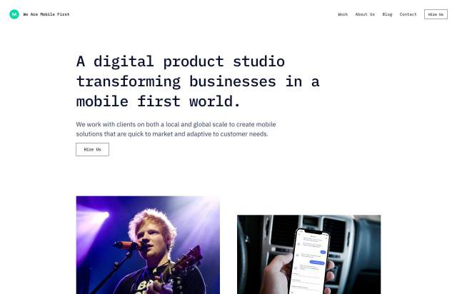 Screenshot of the homepage of the minimal website We Are Mobile First, published on The Gallery on the 2019-11-15 and tagged with the tags company, studio, monospaced, light, grid