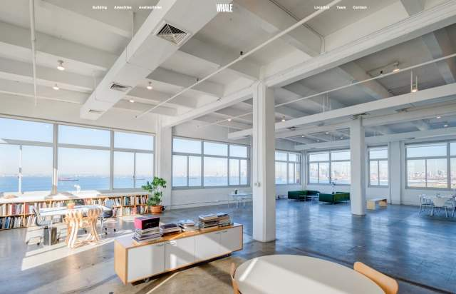 Screenshot of the homepage of the minimal website Whale, published on The Gallery on the 2019-07-08 and tagged with the tags calibre, blue, sans serif, real estate, architecture