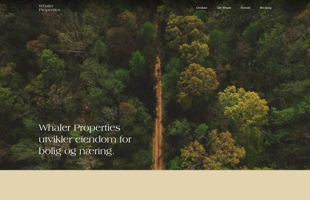 Screenshot of the homepage of the minimal website Whaler Properties, published on The Gallery on the 2019-05-31 and tagged with the tags serif,portfolio,design,colourful