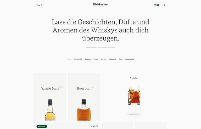 Screenshot of the homepage of the minimal website Whiskyshop, published on The Gallery on the 2019-11-06 and tagged with the tags shop, commerce, serif, light, liquors, center aligned