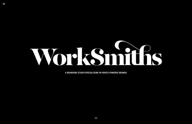 Screenshot of the homepage of the minimal website Worksmiths, published on The Gallery on the 2019-06-30 and tagged with the tags unusual scroll, illustrations, long, portfolio, studio