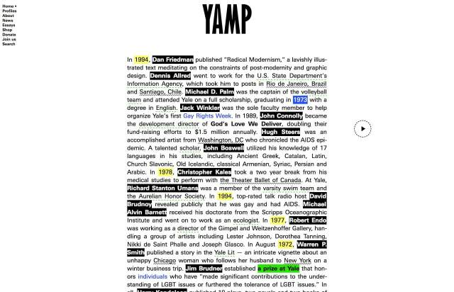 Screenshot of the homepage of the minimal website YAMP, published on The Gallery on the 2019-07-13 and tagged with the tags brutal, center aligned, typographic, single column