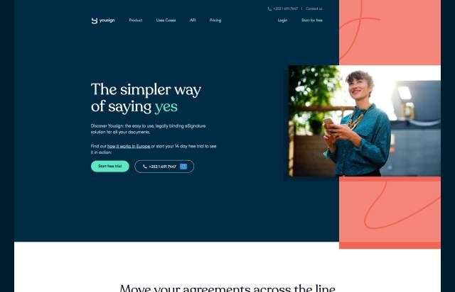 Screenshot of the homepage of the minimal website Yousign, published on The Gallery on the 2019-05-31 and tagged with the tags recoleta,sans serif,tool,colourful,illustrations