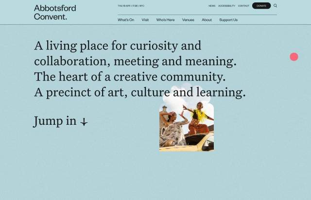 Screenshot of the homepage of the minimal website Abbotsford Convent, published on The Gallery on the 2020-04-16 and tagged with the tags corporate, blue, custom cursor, animations, colourful, grid