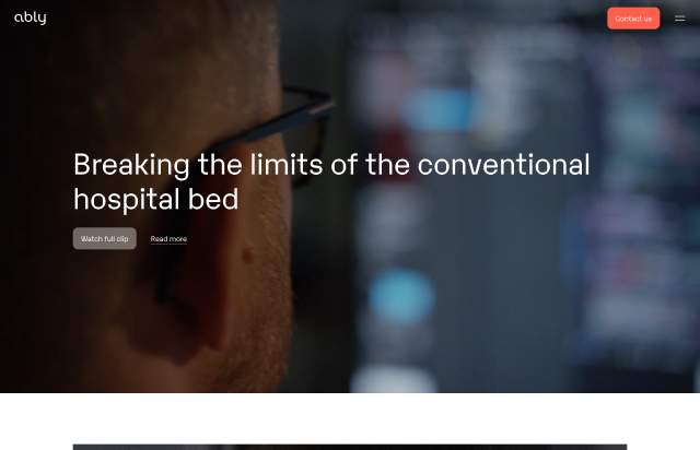 Screenshot of the homepage of the minimal website Ably, published on The Gallery on the 2020-04-16 and tagged with the tags corporate, medical, sans serif, video