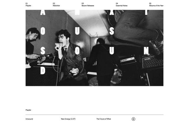 Screenshot of the homepage of the minimal website Anxious Sound, published on The Gallery on the 2020-05-08 and tagged with the tags magazine, grid, black and white, sans serif, columns