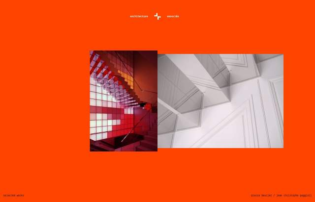 Screenshot of the homepage of the minimal website architecture + associés, published on The Gallery on the 2020-05-06 and tagged with the tags portfolio, red, architecture, columns