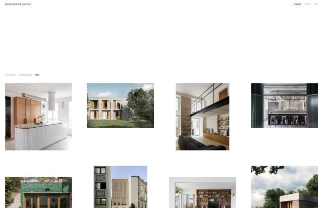 Screenshot of the homepage of the minimal website Atelier Leymarie Gourdon, published on The Gallery on the 2020-10-26 and tagged with the tags portfolio, architecture, grid