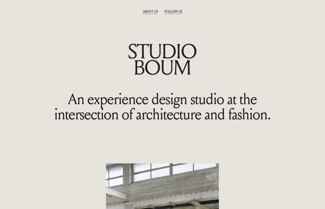 Screenshot of the homepage of the minimal website Boum, published on The Gallery on the 2020-10-26 and tagged with the tags portfolio, studio