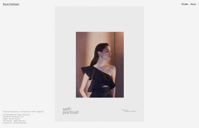 Screenshot of the homepage of the minimal website Bruno Ferdinand, published on The Gallery on the 2020-10-26 and tagged with the tags portfolio, personal