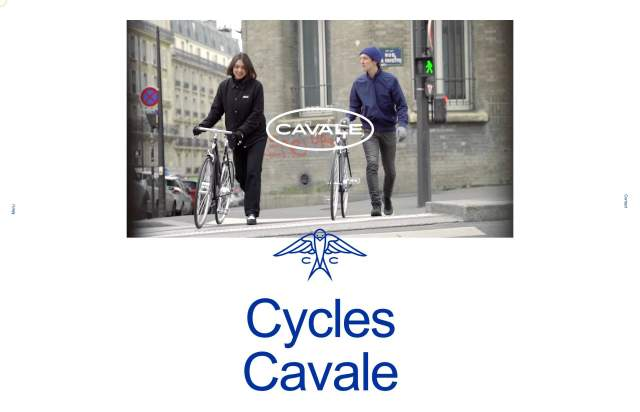 Screenshot of the homepage of the minimal website Cavale, published on The Gallery on the 2020-05-06 and tagged with the tags animations, bikes, custom cursor