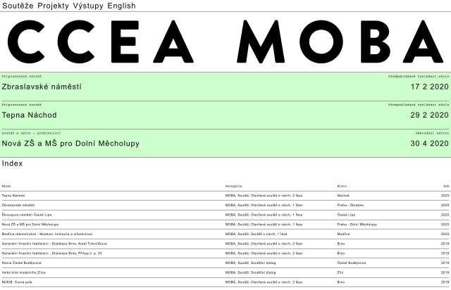 Screenshot of the homepage of the minimal website CCEA MOBA, published on The Gallery on the 2020-02-20 and tagged with the tags kirby, typographic, list, brutal