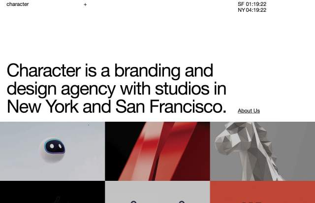 Screenshot of the homepage of the minimal website Character, published on The Gallery on the 2020-01-14 and tagged with the tags portfolio, studio, grid, video, big typography