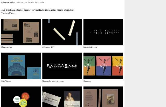 Screenshot of the homepage of the minimal website Clémence Michon, published on The Gallery on the 2020-05-05 and tagged with the tags personal, portfolio, grid, left aligned, serif