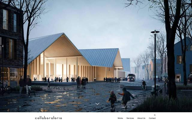 Screenshot of the homepage of the minimal website Collaboratorio, published on The Gallery on the 2020-05-05 and tagged with the tags portfolio, architecture