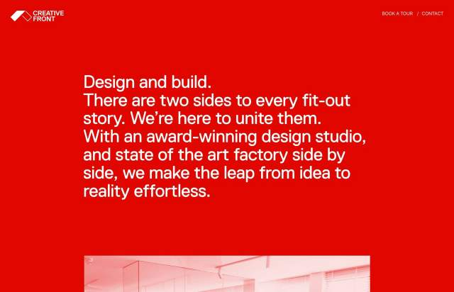Screenshot of the homepage of the minimal website Creative Front, published on The Gallery on the 2020-04-01 and tagged with the tags portfolio, studio, sans serif, red, colourful